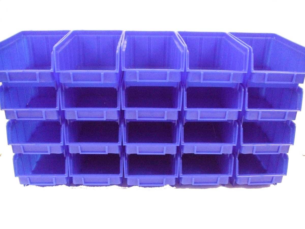 sichtlagerboxen gr 2 blau gr n deckel wandschienen stapelboxen ebay. Black Bedroom Furniture Sets. Home Design Ideas
