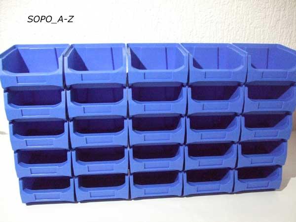 sichtlagerboxen gr 1 stapelboxen schraubenbox blau stabil 20 st ck ebay. Black Bedroom Furniture Sets. Home Design Ideas