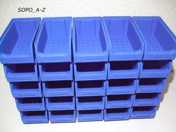 sichtlagerboxen gr 2 stapelboxen schraubenbox blau stabil 40 st ck ebay. Black Bedroom Furniture Sets. Home Design Ideas