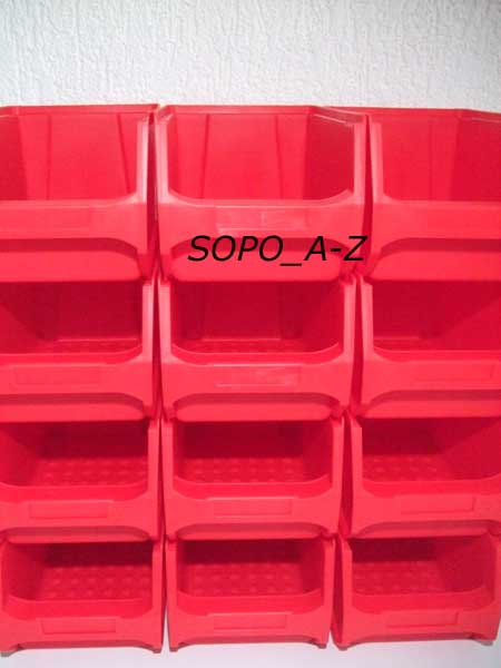 sichtlagerboxen gr 3 stapelboxen schraubenbox lagerbox rot ebay. Black Bedroom Furniture Sets. Home Design Ideas