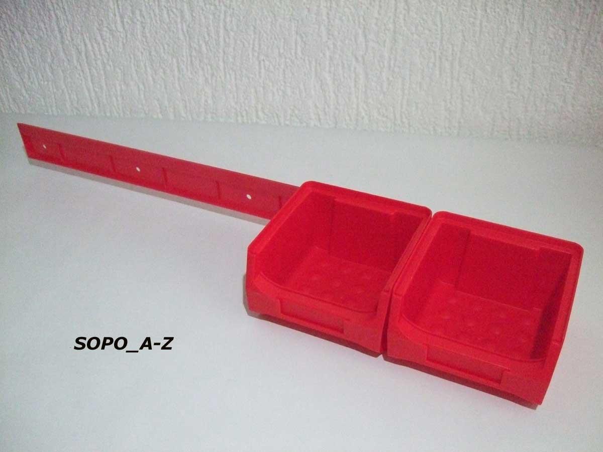 sichtlagerboxen gr 1 rot stapelk sten 20 st ck m 4 wandschienen 4260273613963 ebay. Black Bedroom Furniture Sets. Home Design Ideas